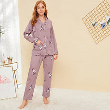 Load image into Gallery viewer, Floral Print Button-up Pajama Set