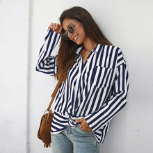 Load image into Gallery viewer, Twist Front Striped Pocket Blouse