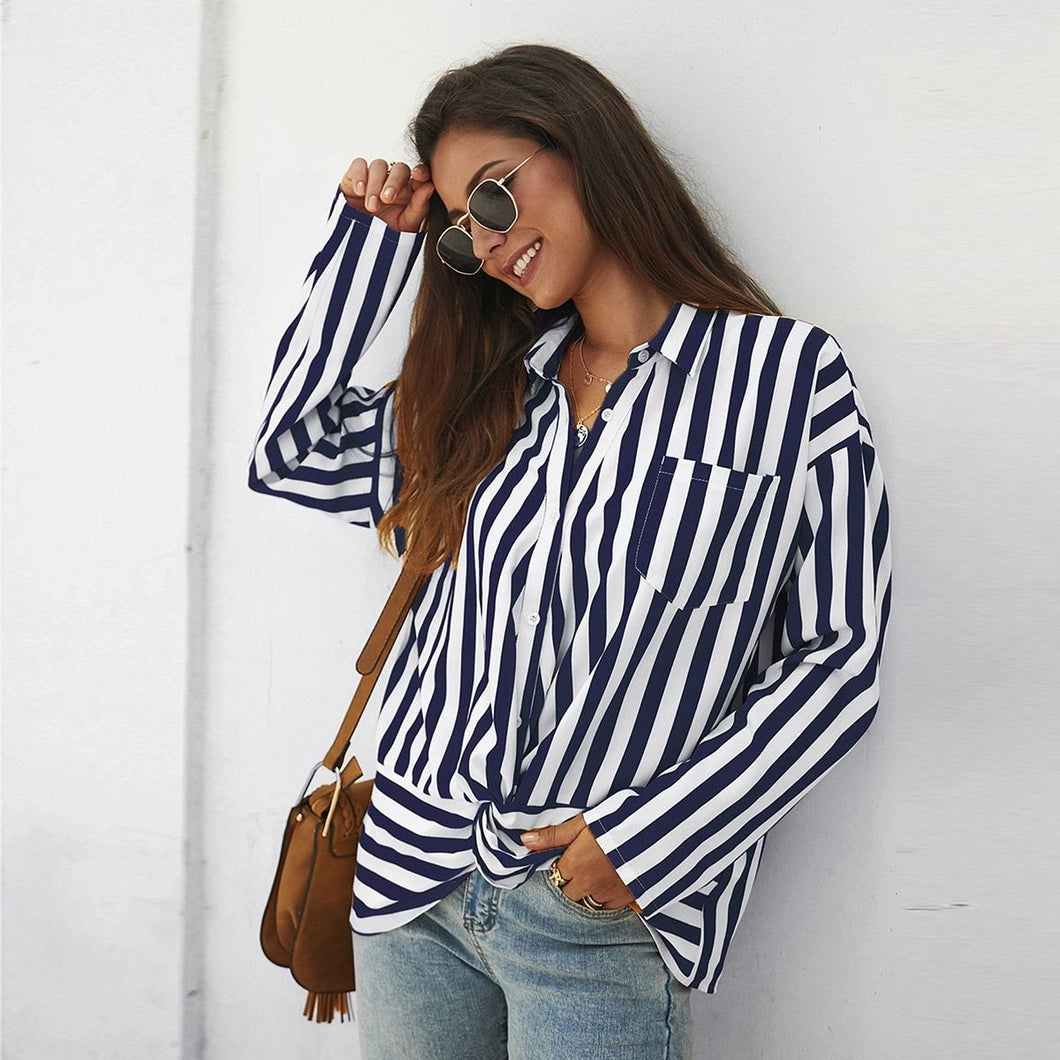 Twist Front Striped Pocket Blouse