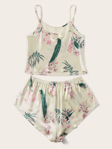 Plus Floral Satin Pajama Set