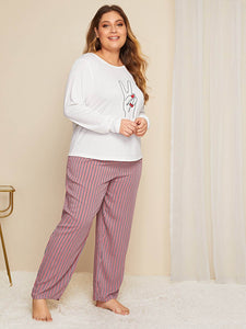 Plus Hand & Striped Print Pajama Set