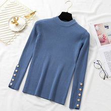 Load image into Gallery viewer, Autumn Women Long Sleeve Pure Slim Sweater Winter Knitted Turtleneck Casual Cashmere Pullover Metal Buttons Split Cuff Basic Top