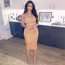 Load image into Gallery viewer, Colysmo Maxi Summer Dress 2020 New Spaghetti Straps Ruched Slim Fit Bodycon Long Dress Sexy Backless Beach Party Long Dress Tan