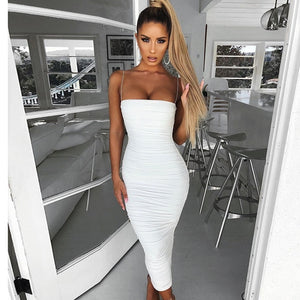 Colysmo Maxi Summer Dress 2020 New Spaghetti Straps Ruched Slim Fit Bodycon Long Dress Sexy Backless Beach Party Long Dress Tan
