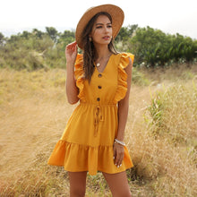 Load image into Gallery viewer, Summer Casual Lace Up Short Dress Street Style Button V-neck Butterfly Sleeve Solid Above Knee Mini Dress 2020 New