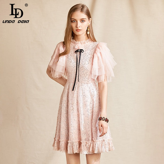 LD LINDA DELLA Fashion Designer Summer Dress Women Mesh Butterfly Sleeve Lace Sequined Boho Vacation A-line Ladies Mini Dress