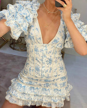 Load image into Gallery viewer, High Quality 2020 Ruffle Light Blue Women Mini Dress