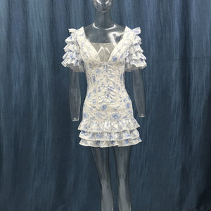 High Quality 2020 Ruffle Light Blue Women Mini Dress