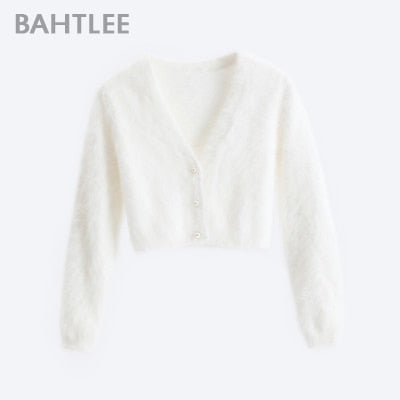 BAHTLEE Women Angora Short Cardigans Sweater Autumn Winter Wool Knitted Jumper Coat Long Sleeves O-Neck Suit Style Pearl Buckle