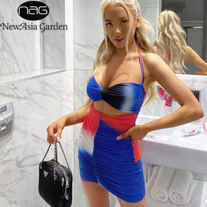 NewAsia Summer Women Dress 2 Layer Cut out Sleeveless Halter Bodycorn Dresses Lady Sexy Spaghetti Strap Elastic Mini Party Robe