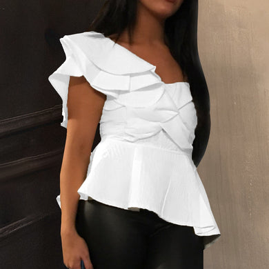 One Shoulder Women's Sexy Party Tops White Layer Ruffles Blouse Summer Party Wear Shirt with Zipper Chemisier Femme Blusas 2021