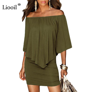 Army green Slash Neck Women Mini Dress 2021 Summer Style Off Shoulder Sexy Dresses Vestidos Black White Beach Casual Dress