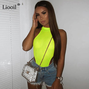 Liooil Green Orange Knit Bodysuit Sexy Tight Body Suit Tops For Women 2021 Sleeveless O Neck Party Club Rompers Bodycon Jumpsuit