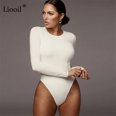 Liooil Black White Bodysuit Sexy Body Suit Tops For Women Fall 2021 Winter Long Sleeve O Neck Party Club Romper Bodycon Jumpsuit