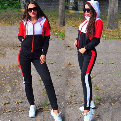 2020 two pieces set women tracksuit hoodie and long pants sportwear suit patchwork casual female clothing Outfits tracksuit girl