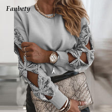 Load image into Gallery viewer, Women Sexy Hollow Out Bow Long SLeeve Blouse Shirts 2021 Spring Elegant Sequin Patchwork Tops Female Fashion Casual Solid Blusa