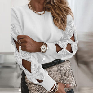 Women Sexy Hollow Out Bow Long SLeeve Blouse Shirts 2021 Spring Elegant Sequin Patchwork Tops Female Fashion Casual Solid Blusa