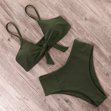 RUUHEE Bikini Swimwear Women Swimsuit 2021 High Waist Bikini Set Push Up Front Knot Bathing Suit Women Summer Beach wear Biquini