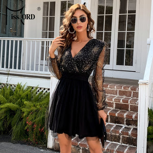 Missord 2021 Women Sexy Deep V Neck Lantern Sleeve Bling Mini Dress See Through Mesh Dress Mini Dress Female Party Dress M01057