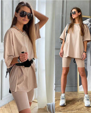 Load image into Gallery viewer, Womens Suits Summer New Casual All-Match Home Loose T-Shirt + Stretch Tight Sports Pants Suit With Belt 2021 Fashion Hot