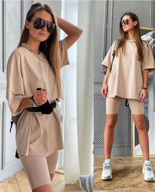 Womens Suits Summer New Casual All-Match Home Loose T-Shirt + Stretch Tight Sports Pants Suit With Belt 2021 Fashion Hot