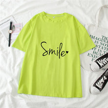 Load image into Gallery viewer, Letter Print Women's T-shirts O-neck Short Sleeve Top Tee 2021 New Fashion Spring Summer Female Casual Basic T-shirt Clothing