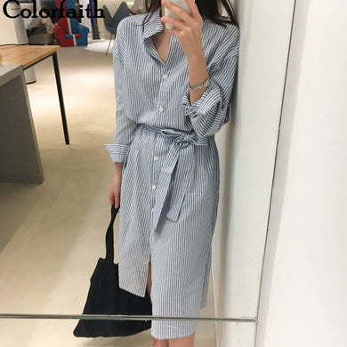 Colorfaith 2021 Women Dresses Spring Summer Elegant Casual Striped Shirt Dress Cotton and Linen Lace Up Single Breated DR1800