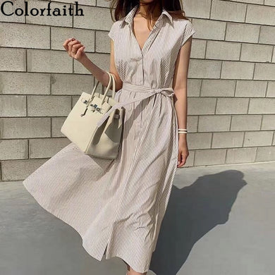 Colorfaith New 2021 Women Spring Summer Shirt Dress Multi Colors Casual Sleeveless Striped Oversize Lace Up Long Dress DR1970