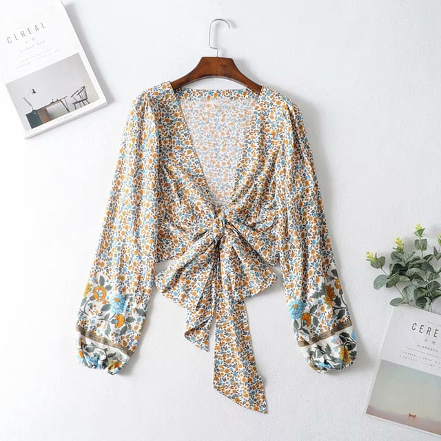 Jastie 2019 Autumn Women Cardigan Jacket Shirt Top Boho Floral Print Top Casual Beach Cropped Tops Shirts chaquetas mujer Blusas