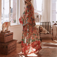 Load image into Gallery viewer, 2021 Bohemian Floral Printed Front Open Summer Women Beach Wear Wrap Dress Chiffon Tunic Sexy Sarongs Robe de Plage Pareo Q751
