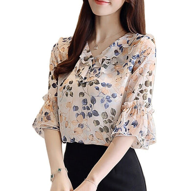 Short-Sleeved Chiffon Blouse 2021 Summer New Women Floral Ruffles Blouse V-Neck Slim Office Lady Work Shirts Tops