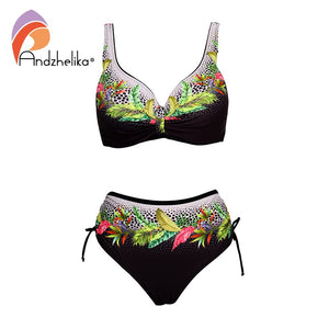 Andzhelika Floral High-Waisted Bikini Sets Sexy Push Up Swimsuit 2021 Summer Two Pieces Swimwear Women Plus Size Bathing Suits