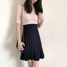 Load image into Gallery viewer, 2021 New Spring Collections Pink Colorblock Navy Blue Pleated Knitted Skater Elegant Dress England Style