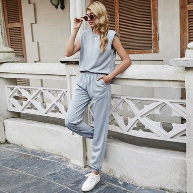 Two Piece Set Women Casual Sportss Grey Loose Top and Cargo Pants Tracksuit Sweatsuit Outfits 2021 Summer New 2 Piece Sets Suit