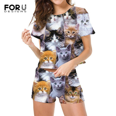 FOURDEIGNS Suit Women Cute 3D Cat Printing Female Short Sleeve Tops And Short Pants 2Sets Ladies T-shirts Women Clothing 2021