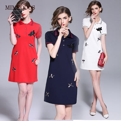 Women Mini Dress Summer 2021 Striped Polos Shirt Dresses Female Embroidery Beading Vestidos Woman Clothes Black White Red