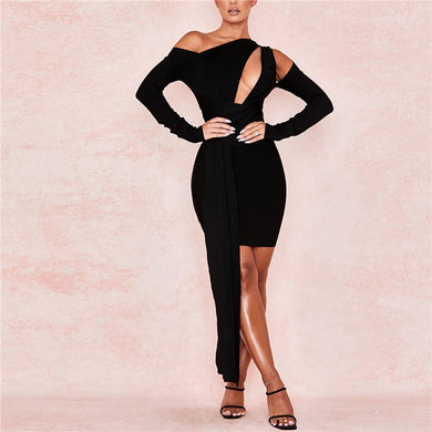 2021 New Fashion Women Bandage Dress Long Sleeve Black Summer Celebrity Evening Party Elegant Black Dresses Bodycon Vestidos