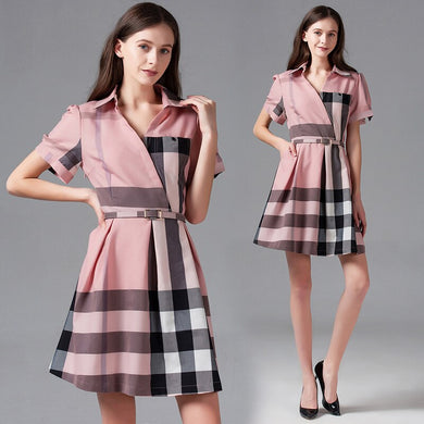 Vintage Pink Plaid Print Mini Dress 2021 New Summer Short Sleeve Office Lady Empire Belted Tunic Birthday Shirt Dress for Women