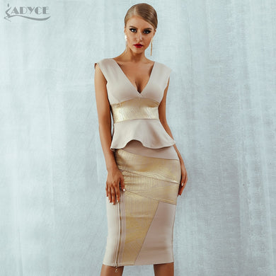 Adyce Ruffles Celebrity Party Dress 2021 New Summer Women Bodycon Set Sleeveless V-Neck Front Zipper Bandage Dress Women Vestido