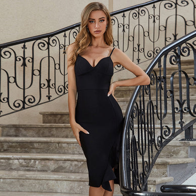 Adyce 2021 New Summer Women V Neck Black Bandage Dress Sexy Spaghetti Strap Ruffles Club Celebrity Runway Party Dresses Vestidos