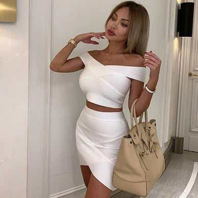 ADYCE 2021 New Summer Women Bodycon Bandage Sets Dress Vestidos 2 Two pieces Set Top& Skirts Off Shoulder Celebrity Party Dress