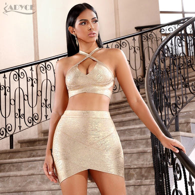 ADYCE 2021 New Summer Women Bodycon Bandage Sets Dress Vestidos Gold 2 Two pieces Set Top Deep V Celebrity Evening Party Dresses