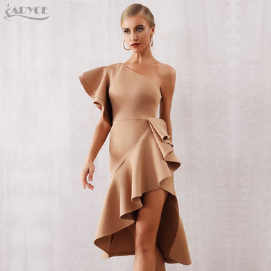 Adyce 2021 New Summer Women One Shoulder Celebrity Party Dress Sexy Khaki Red Ruffles Bodycon Mermaid Bodycon Club Dress