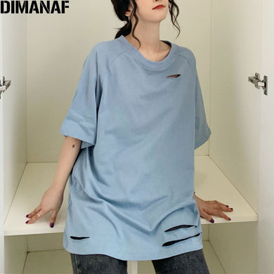 DIMANAF 2021 Plus Size Women T-Shirt Summer Style Soft Cotton Solid Hole Female Lady O-Neck Loose Oversize Tops Tunic T Shirt