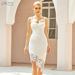 Adyce 2021 New Summer Women Spaghetti Strap White Lace Club Party Bandage Dress Sexy Sleeveless Celebrity Evening Runway Dresses