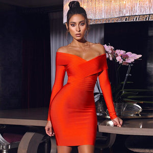 Adyce 2021 New Winter Women Off Shouler Red Bodycon Bandage Dress Sexy Long Sleeve Mini Sheath Club Celebrity Runway Party Dress