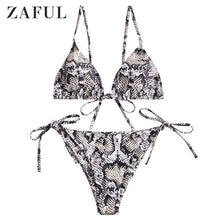 Load image into Gallery viewer, ZAFUL Animal Print Bikinis Set Women Swimwear Leopard Tie String Bathing Suit 2021 Sexy Biquini Swimsuit Female Beach Swimming