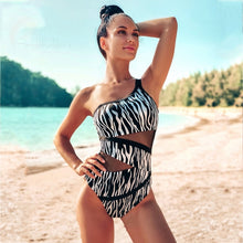 Load image into Gallery viewer, Andzhelika Sexy One Shoulder One Piece Swimsuit 2021 New Off Shoulder Mesh Patchwork Swimwear Bodysuit Bathing Suit Monokini