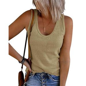 Woman Vest Sleeveless Gmarment Knitted Ribs U Neck Pullover Casual Girl Tank Top 2021 Spring Summer New Arrival