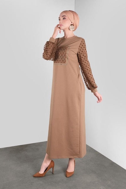 Cotton Long Women Dress With Tulle Dotted Detailed Sleeves Turkish Fashion Islamic Muslim Modern Clothing 2024